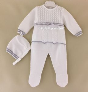 BABY BOYS GIRLS SPANISH KNITTED JUMPER LEGGINGS BONNET SET WHITE GREY 0 1 3 6